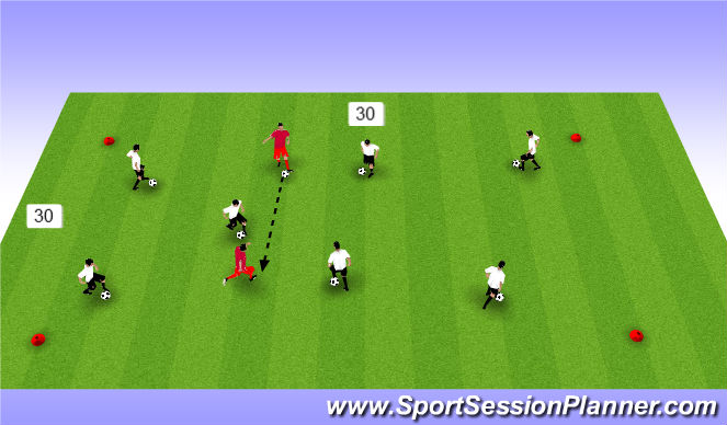 Football/Soccer Session Plan Drill (Colour): pass/receive/chaos