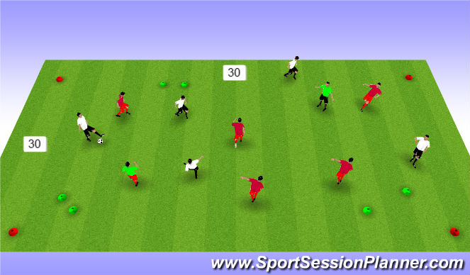 Football/Soccer Session Plan Drill (Colour): 5v5 pass/receive/possession