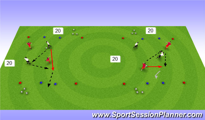Football/Soccer Session Plan Drill (Colour): pass/receive 2v2