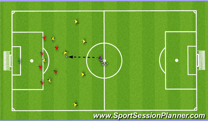Football/Soccer Session Plan Drill (Colour): 8v6 Pressing in the defensive half