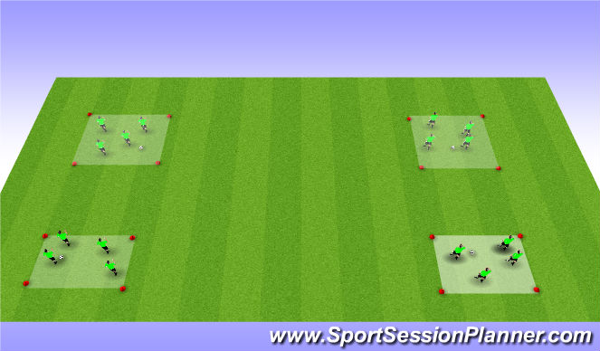 Football/Soccer Session Plan Drill (Colour): 4 Square Dyn WU