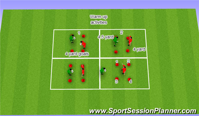 Football/Soccer Session Plan Drill (Colour): Warm up reaction activities