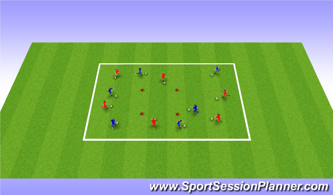 Football/Soccer Session Plan Drill (Colour): Simple/ Running with the ball