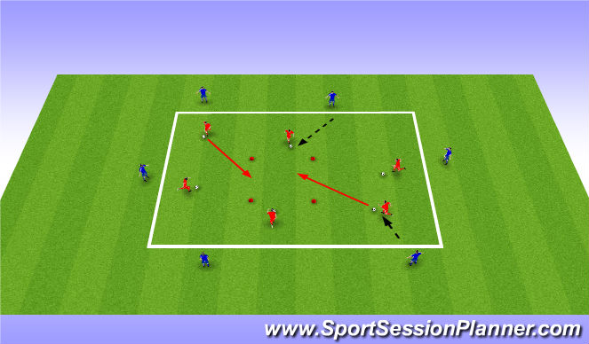 Football/Soccer Session Plan Drill (Colour): one two, running with ball