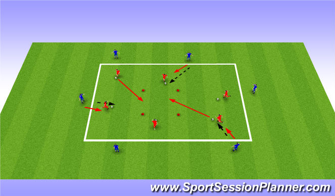 Football/Soccer Session Plan Drill (Colour): Running with the ball under preasure