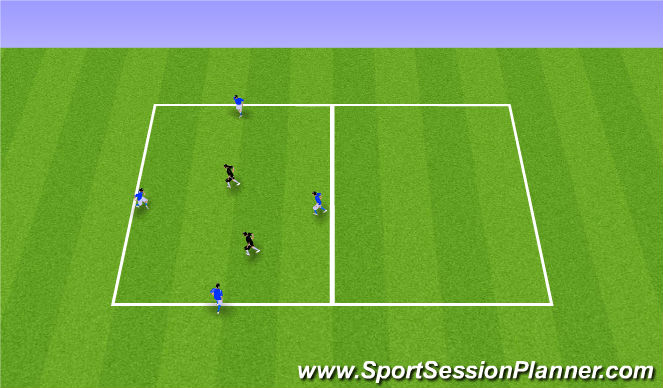 Football/Soccer Session Plan Drill (Colour): 5v2 Transition Warm-up