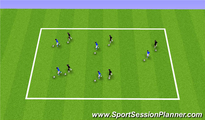 Football/Soccer Session Plan Drill (Colour): Ball Mastery: Carbon Copy