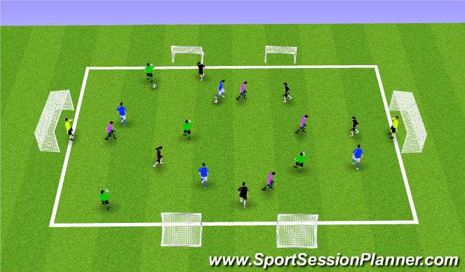 Football/Soccer Session Plan Drill (Colour): Shooting Chaos