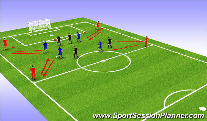 Football/Soccer Session Plan Drill (Colour): 4v4 plus 4