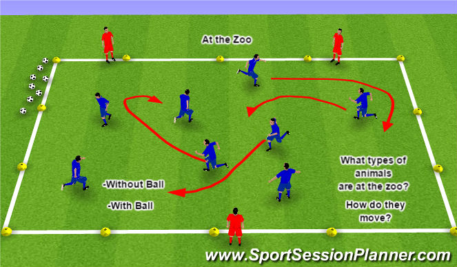Football/Soccer Session Plan Drill (Colour): At the Zoo
