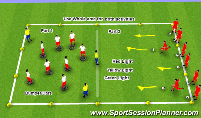Football/Soccer Session Plan Drill (Colour): Bumper Cars/Red light, green light