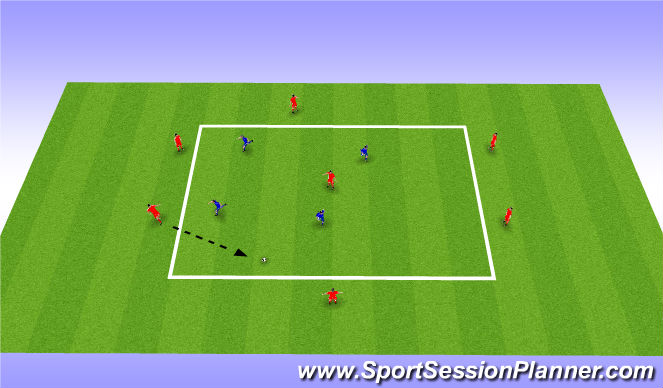 Football/Soccer Session Plan Drill (Colour): 2-3-2 positional rondo