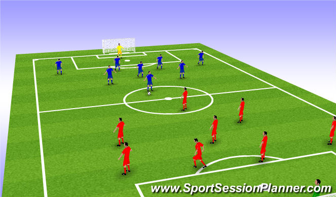 Football/Soccer Session Plan Drill (Colour): 9v9 game with team