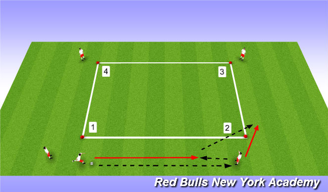 Football/Soccer Session Plan Drill (Colour): Warmup - Diamond Passing Combinations