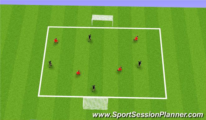 Football/Soccer Session Plan Drill (Colour): 3v3/ 4v4 game