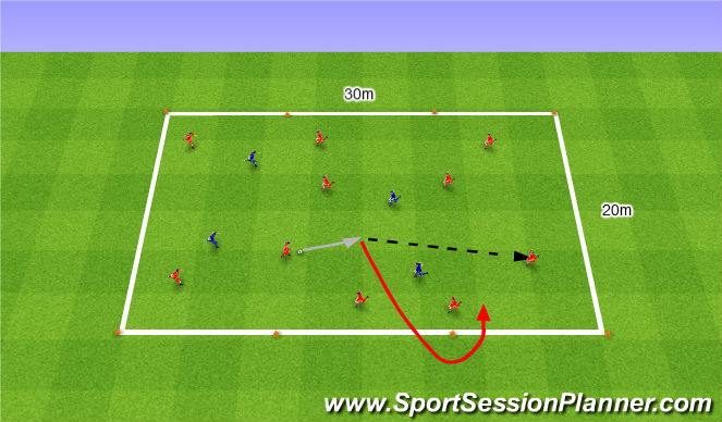 Football/Soccer Session Plan Drill (Colour): 10v4 keep ball. 10v4 na utrzymanie.
