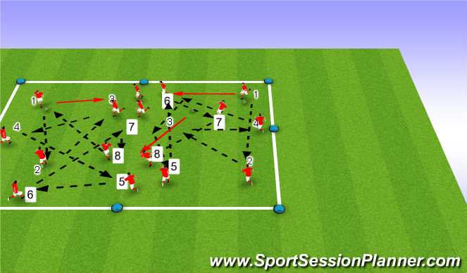 Football/Soccer Session Plan Drill (Colour): Passing & Receiving warm-up