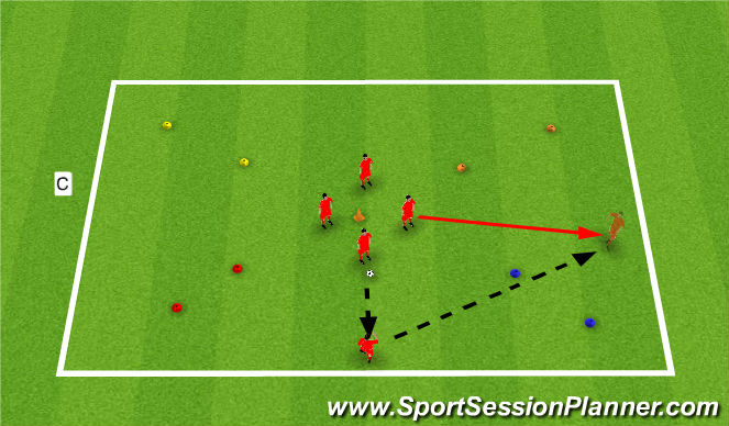 Football/Soccer Session Plan Drill (Colour): Support