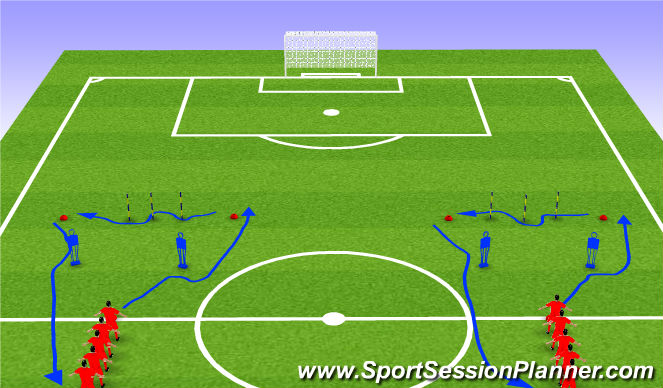 Football/Soccer Session Plan Drill (Colour): Tech warm-up engaging the defender