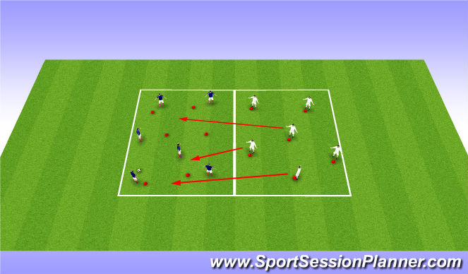 Football/Soccer Session Plan Drill (Colour): Technical Practise - Progression