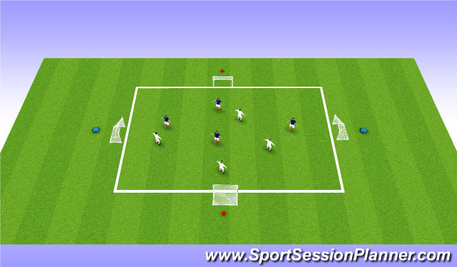 Football/Soccer Session Plan Drill (Colour): 4v4 - 4 goal game