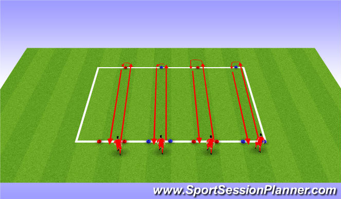 Football/Soccer Session Plan Drill (Colour): Test 3 Speed dribbling