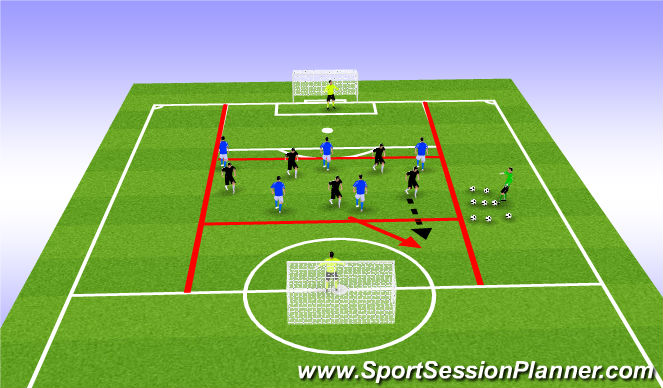 Football/Soccer Session Plan Drill (Colour): Breaking the Line Game