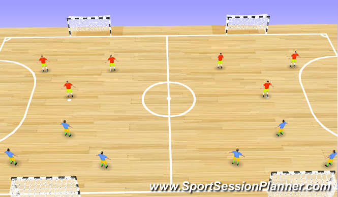 Futsal Session Plan Drill (Colour): Small Sided Game 1: 3 v 3