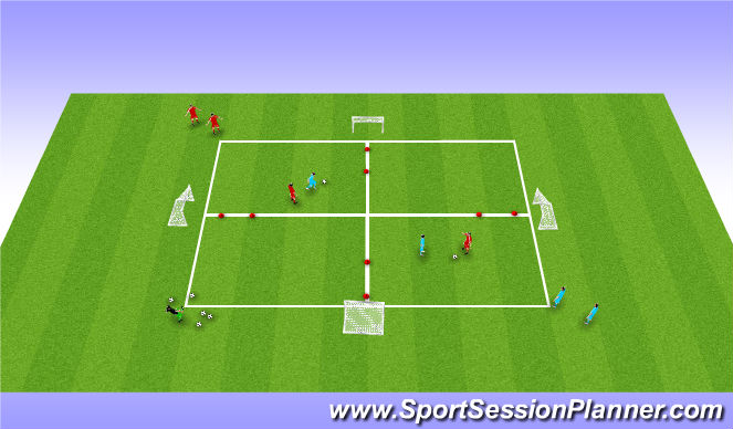 Football/Soccer Session Plan Drill (Colour): 1v1 warm up