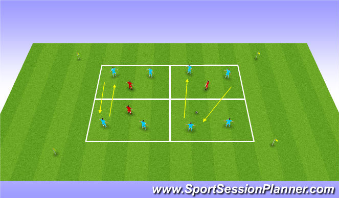 Football/Soccer Session Plan Drill (Colour): Supporting the ball