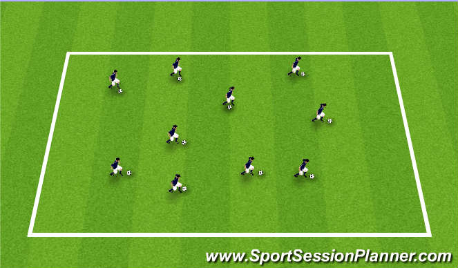 Football/Soccer Session Plan Drill (Colour): Dribble Warm-up