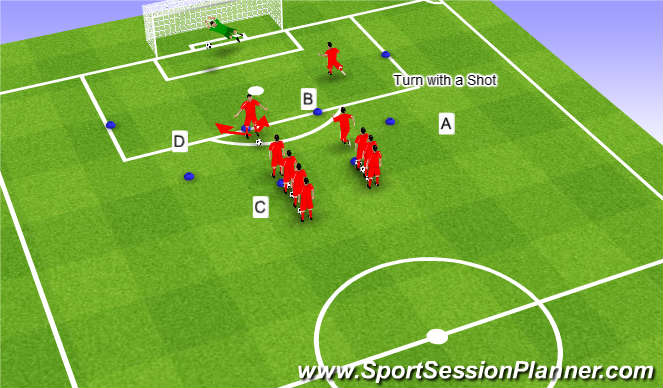Football/Soccer Session Plan Drill (Colour): Shooting prog. 1