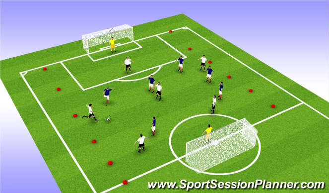 Football/Soccer Session Plan Drill (Colour): 8 v 6 Possesion and Quick Attack