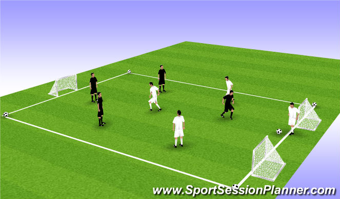 Football/Soccer Session Plan Drill (Colour): 3 goal 5ball changeover game.