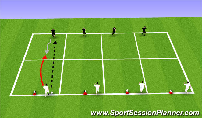 Football/Soccer Session Plan Drill (Colour): WU: Cone Ball 1v1