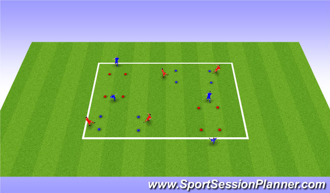 Football/Soccer Session Plan Drill (Colour): Passing in pairs