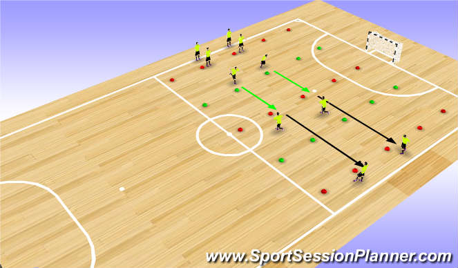 Futsal Session Plan Drill (Colour): Dynamic Warm Up