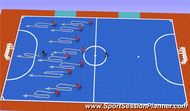 Futsal Session Plan Drill (Colour): TECHNICAL DRIBBLING (5 MIN)