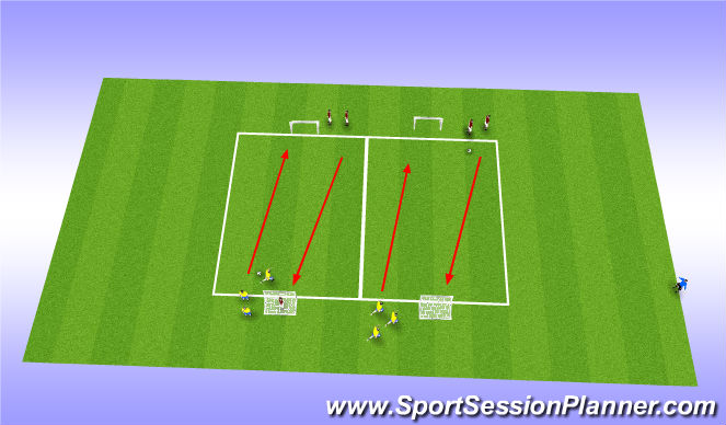 Football/Soccer Session Plan Drill (Colour): Fun fitness - Race, score, turn