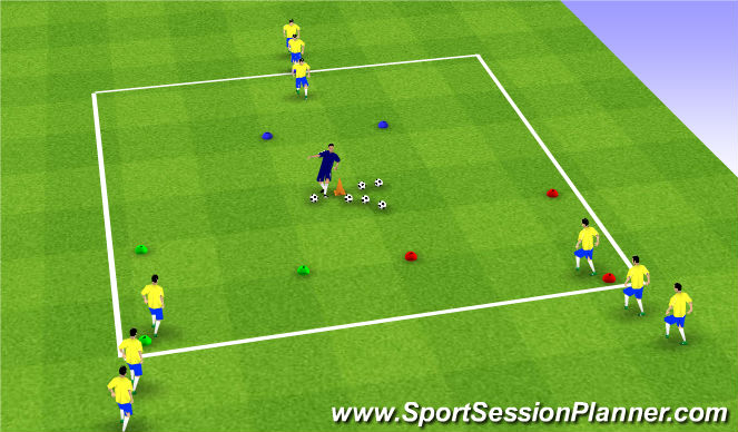Football/Soccer Session Plan Drill (Colour): Technical- Passing/Receiving- Triangles