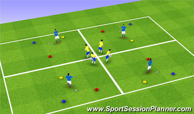 Football/Soccer Session Plan Drill (Colour): Reaction Time Technical