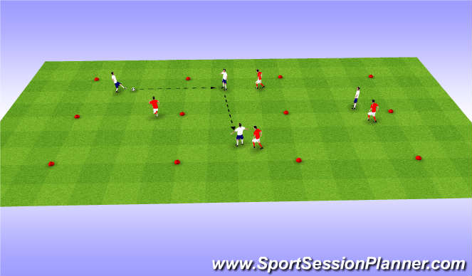 Football/Soccer Session Plan Drill (Colour): 4v4 SSG - Short Passing