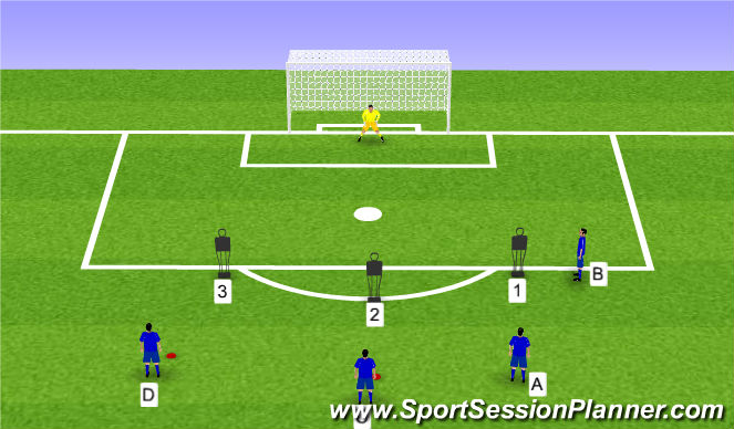 Football/Soccer Session Plan Drill (Colour): Touch and shoot