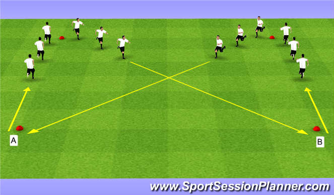 Football/Soccer Session Plan Drill (Colour): Dynamics Warm Up