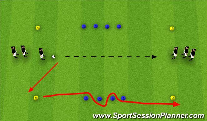 Football/Soccer Session Plan Drill (Colour): Pass & Follow Agility