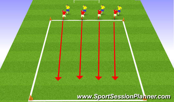 Football/Soccer Session Plan Drill (Colour): defensive movements