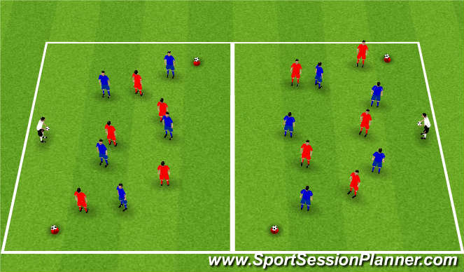 Football/Soccer Session Plan Drill (Colour): SSG - Knock Ball Off Cone