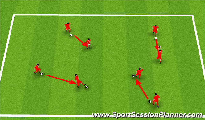 Football/Soccer Session Plan Drill (Colour): Body Part Dribbling