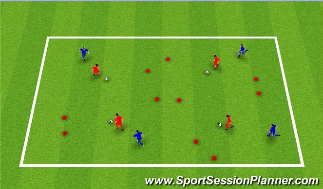 Football/Soccer Session Plan Drill (Colour): Pressured Gate Dribbling
