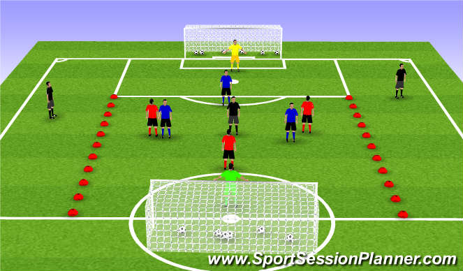 Football/Soccer Session Plan Drill (Colour): Building Play Side to Side